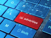 Advertising concept: Growth Graph and Advertise on computer keyb — Foto de Stock