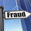 Protection concept: Fraud on Building background — 图库照片 #34096205