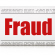 Security news concept: newspaper headline Fraud — Foto de stock #34096721