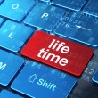 Timeline concept: Life Time on computer keyboard background — Stockfoto