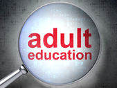 Education concept: Adult Education with optical glass — Stock Photo