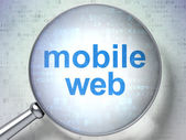 SEO web design concept: Mobile Web with optical glass — Stock Photo