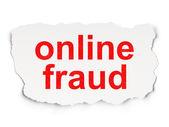 Sicherheitskonzept: online-Betrug auf Papierhintergrund — Stockfoto