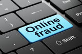 Protection concept: Online Fraud on computer keyboard background — Foto Stock