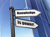 Education concept: Knowledge Is power! on Building background — Stock Photo