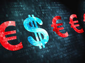 Currency concept: Dollar And Euro on digital background — Stockfoto