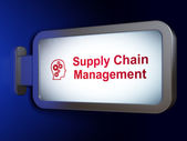 Advertising concept: Supply Chain Management and Head With Gears on billboard background — Foto Stock