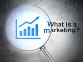 Advertising concept: Growth Graph and What is a Marketing? — Stock Photo