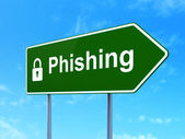 Safety concept: Phishing and Closed Padlock on road sign — Stock Photo