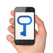 Privacy concept: Key on smartphone — Stock Photo