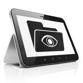 Finance concept: Folder With Eye on tablet pc computer — Foto Stock