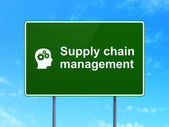 Marketing concept: Supply Chain Management and Head With Gears — 图库照片