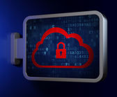 Cloud computing concept: Cloud With Padlock on billboard — Stock Photo