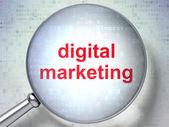 Marketing concept: Digital Marketing with optical glass — Stockfoto