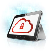 Cloud technology concept: Cloud With Padlock on tablet pc — Стоковое фото