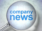 News concept: Company News with optical glass — Stock Photo