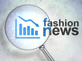 News concept: Decline Graph and Fashion News with optical glass — Stock Photo