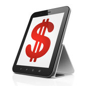 Currency concept: Dollar on tablet pc computer — Stockfoto