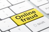 Concepto de privacidad: fraudes en línea en el fondo de teclado de computadora — Foto de Stock