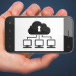 Privacy concept: Cloud Network on smartphone — Stock Photo