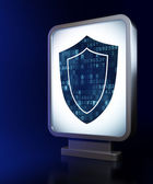 Privacy concept: Shield on billboard background — Stock Photo
