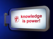 Education concept: Knowledge Is power! and Head With Gears — 图库照片