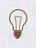 Business concept: Light Bulb on fabric texture background — Stock Photo