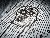 Education concept: circuit board with Head With Gears — Stock Photo