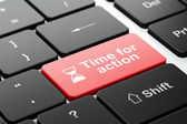 Time concept: Hourglass and Time for Action on keyboard — Stockfoto