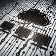Cloud networking concept: circuit board with Cloud Network — Stock Photo