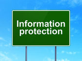 Security concept: Information Protection on road sign background — Stock Photo