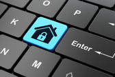 Privacy concept: Home on computer keyboard background — Stock Photo