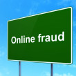 Privacy concept: Online Fraud on road sign background — Zdjęcie stockowe