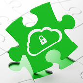 Cloud computing concept: Cloud With Padlock on puzzle background — Stockfoto