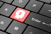 Privacy concept: Head With Keyhole on computer keyboard — Zdjęcie stockowe