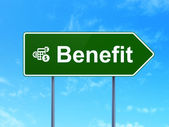 Business concept: Benefit and Calculator on road sign background — Foto de Stock