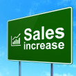 Stock Photo: Advertising concept: Sales Increase and Graph on road sign
