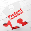 Protection concept: Protect Information on puzzle background — Stock Photo #34437543