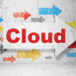 Stock Photo: Cloud technology concept: arrow whis Cloud on grunge wall