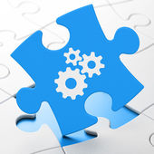 Web design concept: Gears on puzzle background — Stock Photo