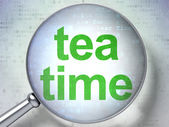 Timeline concept: Tea Time with optical glass — Stock Photo