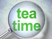 Timeline concept: Tea Time with optical glass — Stok fotoğraf
