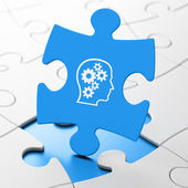 Data concept: Head With Gears on puzzle background — Stock Photo
