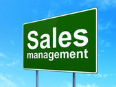 Marketing concept: Sales Management on road sign background — Stock Photo