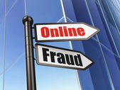 Security concept: sign Online Fraud on Building background — Stock Photo