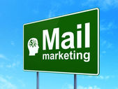 Marketing concept: Mail Marketing and Head With Finance Symbol on road sign background — Stock Photo