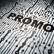 Advertising concept: circuit board with Promo — Foto de Stock