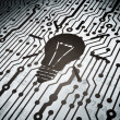 Stock Photo: Finance concept: circuit board with Light Bulb