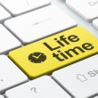 Timeline concept: Clock and Life Time on computer keyboard background — Foto Stock