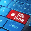 Timeline concept: Alarm Clock and Life Time on computer keyboard background — Stock Photo